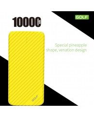 GOLF Power Bank Li-ion Pineapple Series 10000mAh, 2x output, Yellow