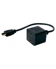 Powertech HDMI Splitter 19pin male / 2x Fem Gold